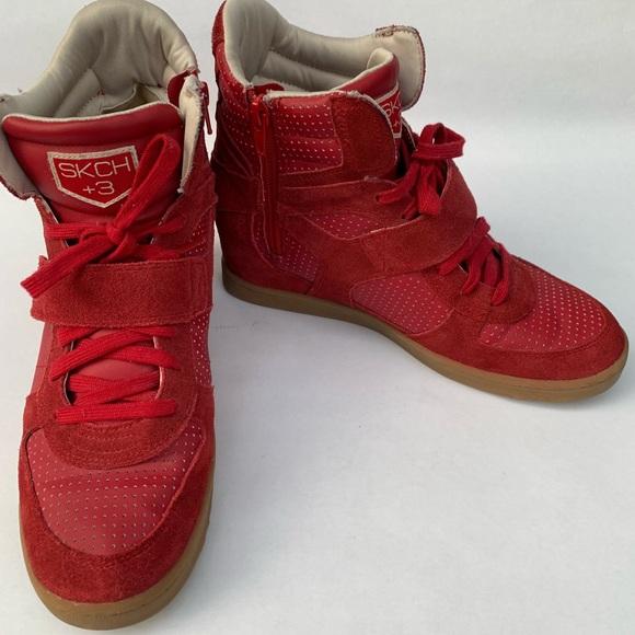 Skechers 3 Red Sneakers Wedge Size 9 Us